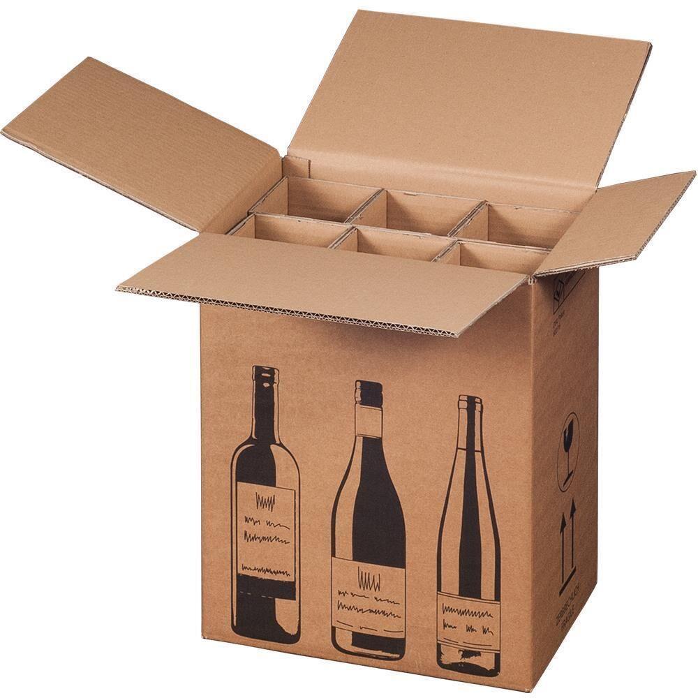 versandkarton f r flaschen 6 er mit 3 er einlage kaufen bei verpack. Black Bedroom Furniture Sets. Home Design Ideas